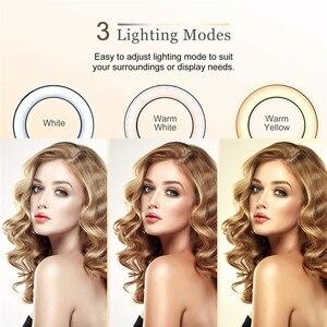 Image 5 - 9 אינץ טבעת אור חצובה Stand עבור Selfie תמונות YouTube קטעי וידאו איפור LED טבעת אור 10 בהירות רמות 3 תאורה מצבים