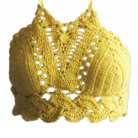 Women Crochet Summer Camisole Female High Neck Cropped Bralette Yellow Halter Bustier Tops Blusa Femme Sexy Handmade Top T8207