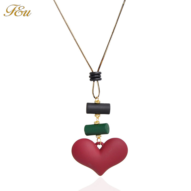 F&U Cheap Wholesale Long Chain Sweater Heart Pendant Necklace for Women New Design Fashion Jewelry
