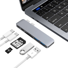6 Ports Dual Type C Hub USB C to 2 USB 3.0 SD TF Card Reader Type C Charging Thunderbolt Data Transfer Adapter for Macbook Pro