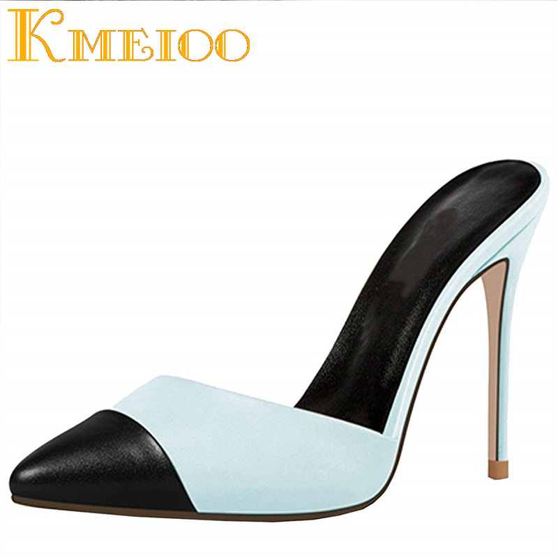 Kmeioo Women Shoes Pointed Toe High Heels Slip On Sandals Ladies Thin Heels Slingback Pumps Dress Shoes 12CM