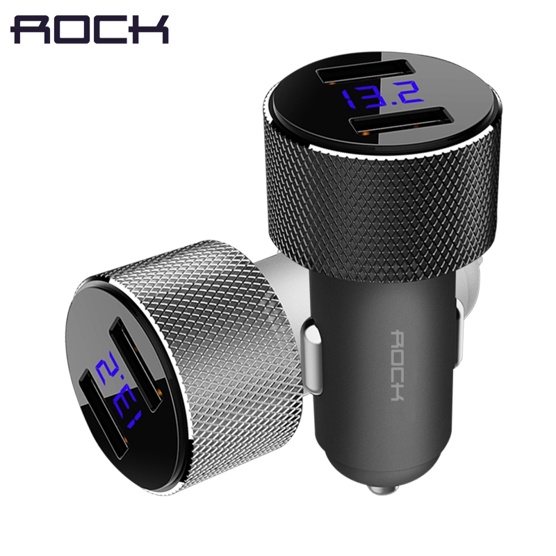 Dual USB Car Charger With LED Digital Display ,ROCK Universal 3.4A 2 USB Car-Charger adapter for Mobile Phones for iphone x 8 7