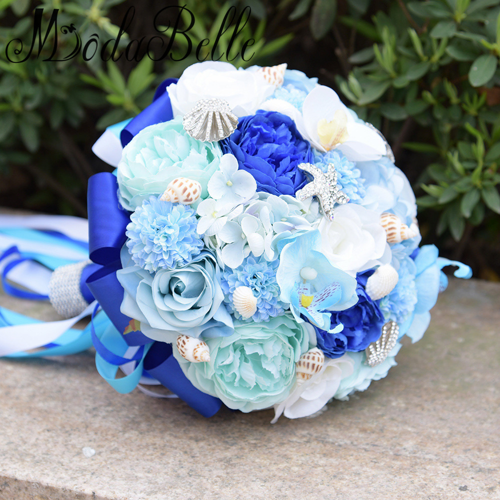 Aliexpress Buy Blue Beach Wedding Flowers Bridal Bouquet