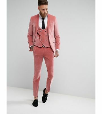 Custom Made 3 Piece Fashion Winter Groom Wedding Dress Slim Fit PINK Velvet Men's Tuxedo Suit For Prom Party Jacket+Vest+Pants