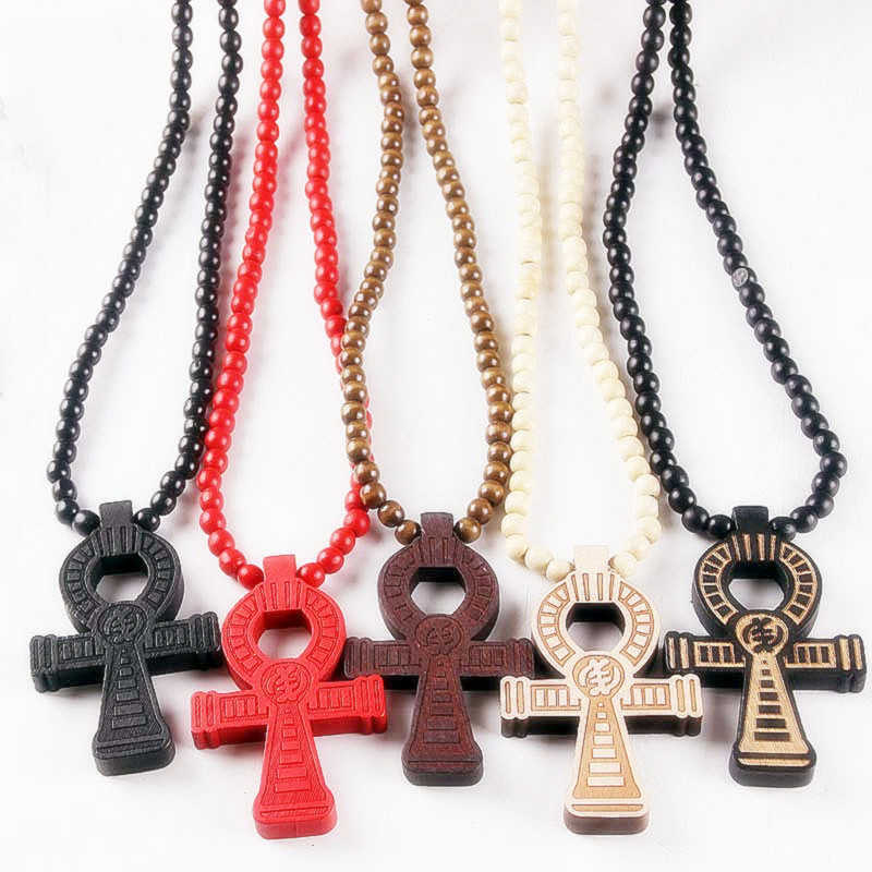 Classic Egyptian Ankh Crucifix Hip Hop Wood Beads Necklace Pendant Wooden Cross Necklaces For Men Women Unisex Vintage Jewelry