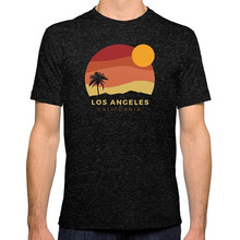Rude T Shirts Crew Neck Men Los Angeles Sunset Print Short Tee white crew neck french fries print tee