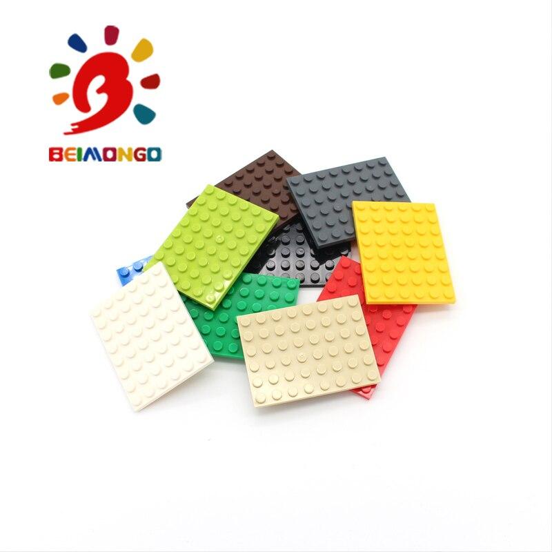 Freies Verschiffen! BEIMONGO Blöcke Platte 6x8 Bausteine 10 stücke Educational & Intelligente DIY Kinder Spielzeug kann compitabled