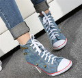 PXELENA 2015 Retro denim women High Top heels high thin canvas boots rivet stones Pumps shoes Fashion spring autumn Lace Up