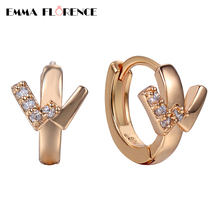 2018 Quality AAA Cubic Zircon Prong Hoop Earrings Luxury Letter w Romantic Gold Color Earrings for women Jewelry Gift wholesale
