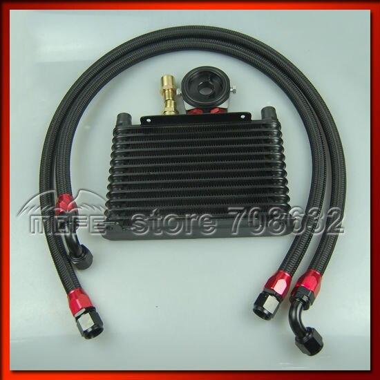 Здесь можно купить   Universal Engine Transmission AN10 13 offer Oil Cooler Kit + Oil Sandwich Adapter + Braided Nylon Stainless Steel Oil Lines Black Автомобили и Мотоциклы