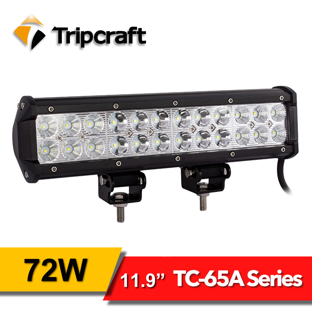 TRIPCRAFT 72W <font><b>LED</b></font> LIGHT BAR spot beam 12&#8243; Worklights for Offroad Car Truck <font><b>rampe</b></font> 4&#215;4 ATV SUV 12V 24V 6500K auto driving fog lamp