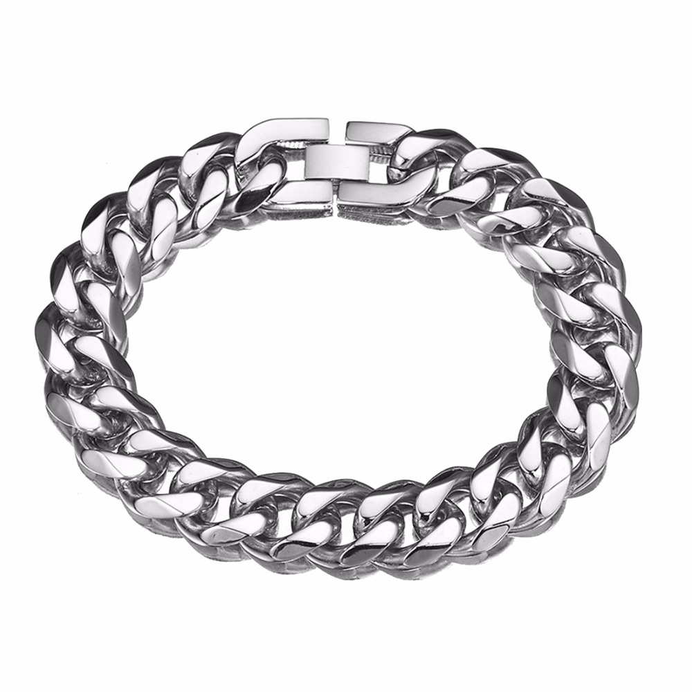 13/15mm Stainless Steel Gold Curb Cuban Link Chain Thick Bracelets Trendsetter Jewelry Rapper Men Women Accessories Bangle Commodities Are Available Without Restriction