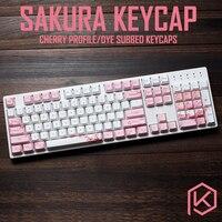 Cherry profile Dye Sub Keycap Set thick PBT plastic sakura flower white pink colorway for gh60 xd64 xd84 xd96 tada68 87 104
