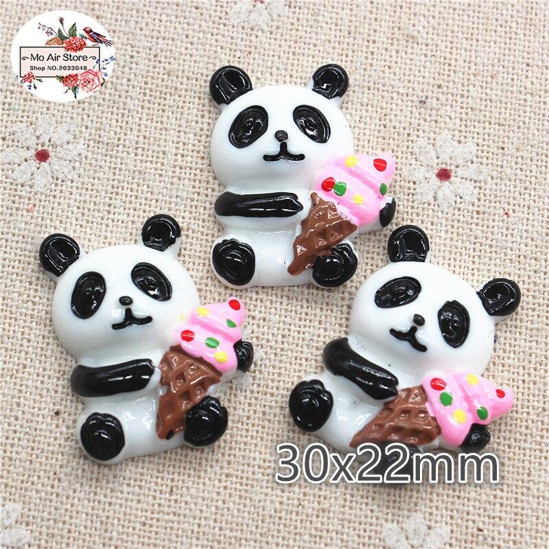 10 Pièces De Dessin Animé Animal Panda Avec Crème Glacée Résine Dos Plat Cabochon Fournitures Dart Décoration Charme Artisanat