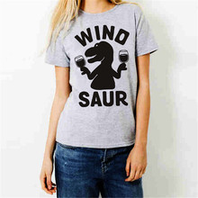 Summer T-shirt Trend personality New Letter WINO SAUR Digital printing Women T shirt Cartoon Dinosaur Round neck Tees Tops 2019
