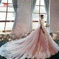 Vestidos Luxuosos Собор Свадебные Платья С Розовый Тюль Long Train Бисероплетение Romantico Свадебные Платья Robe De Mariage 2017