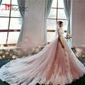Vestidos Luxuosos Vestidos de Casamento Catedral Com Rosa Tulle Long Train Beading Romantico Vestidos de Noiva Robe De Mariage 2017
