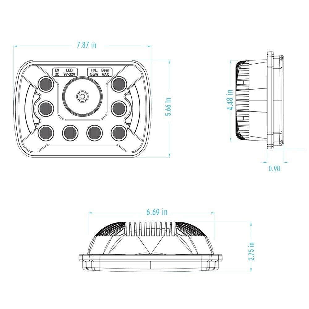 2 stücke 7X6 5X7 55W LED Scheinwerfer Hohe Abblendlicht DRL für Ford E 150 E 250 e 350 Econoline Club Wagon - 3