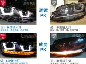 Image 2 - Cubierta de faro delantero para coche Golf 7 2014, faros delanteros Golf7 MK7, luz trasera LED, lente DRL, doble haz, bi xenón HID, 2 uds.