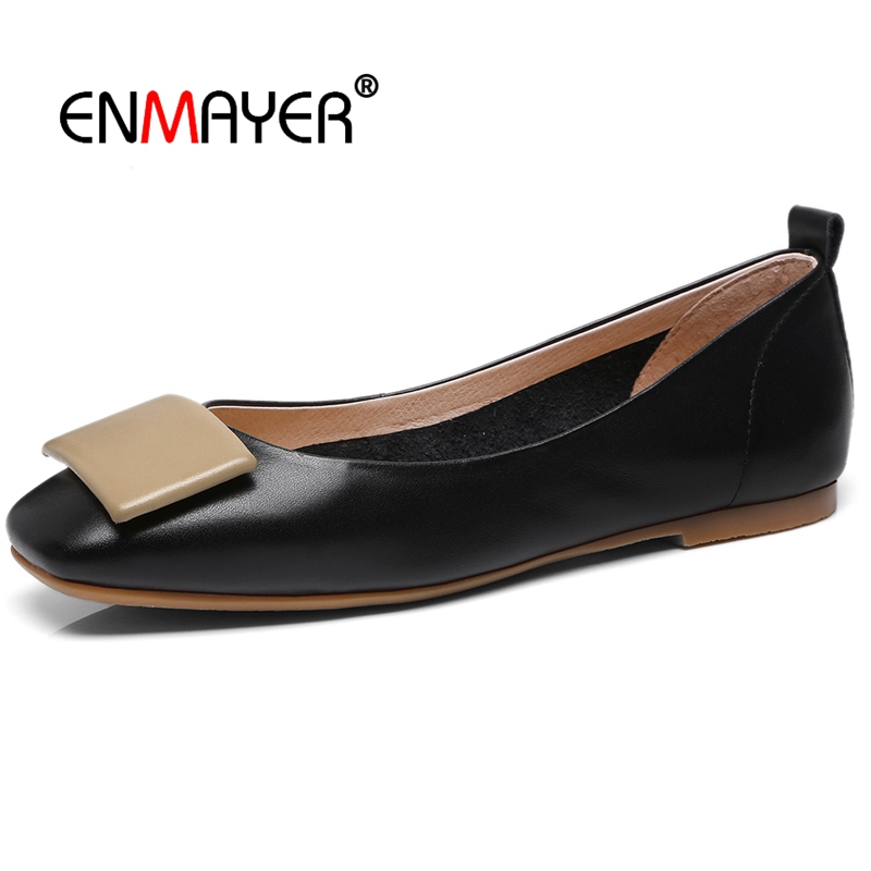 ENMAYER   Genuine Leather  Square Toe  Casual  Women Shoes  Mary Janes  Zapatos De Mujer Women Fashion Pumps Size 34-39 LY393ENMAYER   Genuine Leather  Square Toe  Casual  Women Shoes  Mary Janes  Zapatos De Mujer Women Fashion Pumps Size 34-39 LY393