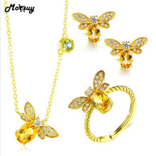 hot deal buy mobuy citrine natural gemstone 3pcs cute insect jewelry sets 100% 925 sterling silver fine jewelry for women party v027enr