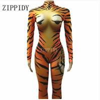 Fashion Bright Rhinestones Tiger Printed Design Jumpsuit Costume Stage Performance Outfit Big Stretch Bodysuit