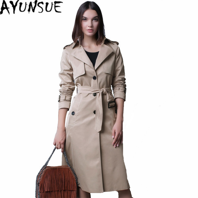33efb80524ab6 AYUNSUE British Style Women's Coat Trench Female Tunique Longue Coats  Windbreaker Trench Coat Para As Mulheres Plus Size WXF120