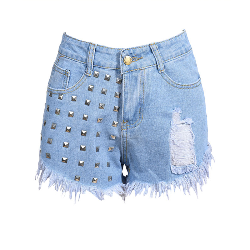 2017 Summer New Cotton High Waist Rivet Scratched Repped Washed Vintage Casual Women Denim Shorts Jeans