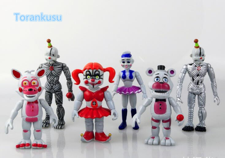 Five Nights at <font><b>Freddy's</b></font> Action Figure Sister Location Chica Funtime Foxy Ballora Puppet <font><b>Gold</b></font> <font><b>Freddy</b></font> <font><b>FNAF</b></font> PVC Model Toy 6pcs/set