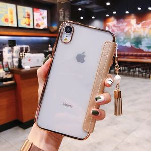 Image 5 - Luxury Slim Flip Case for Iphone X 8 7 6 6S Plus Xs Max Xr Cute Mountain Tea Flower Pu Leather TPU Silicon Cover Tassel Pearl