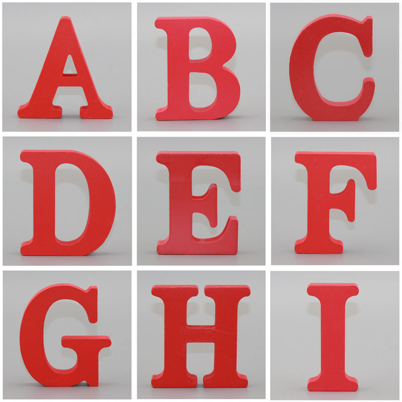 1pc 10X10CM Red Wooden Art Craft Free Standing Wedding Heart Home Decor English Letters Alphabet Word Personalised Name Design