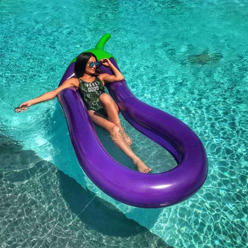 Inflatable Floating Beach Mattress Eggplant Air Mattress Swimming Pool Water Toys