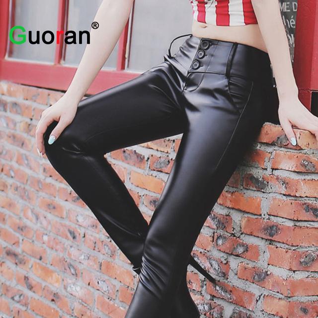 {Guoran} las mujeres de invierno de las señoras del estiramiento de cintura alta pantalones de cuero negro pantalones de cuero de imitación más tamaño 4XL pantalones lápiz femenino
