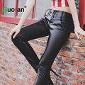 {Guoran} mulheres senhoras inverno jeans stretch de cintura alta calças de couro preto faux calças de couro plus size 4XL calças lápis feminino