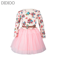 Girls Autumn Dress Fashion Cute Floral Prints Long Sleeve Mesh Dress Childrens Clothing Designed For 4