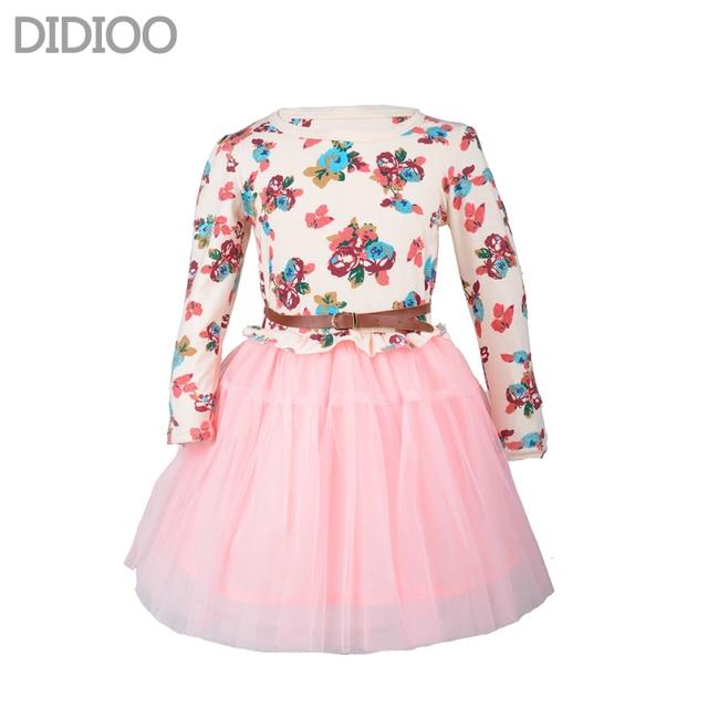 Girls Autumn Dress Fashion Cute Floral Prints Long Sleeve Mesh Princess Dress Childrens Clothing Designed For 4-14 Girls