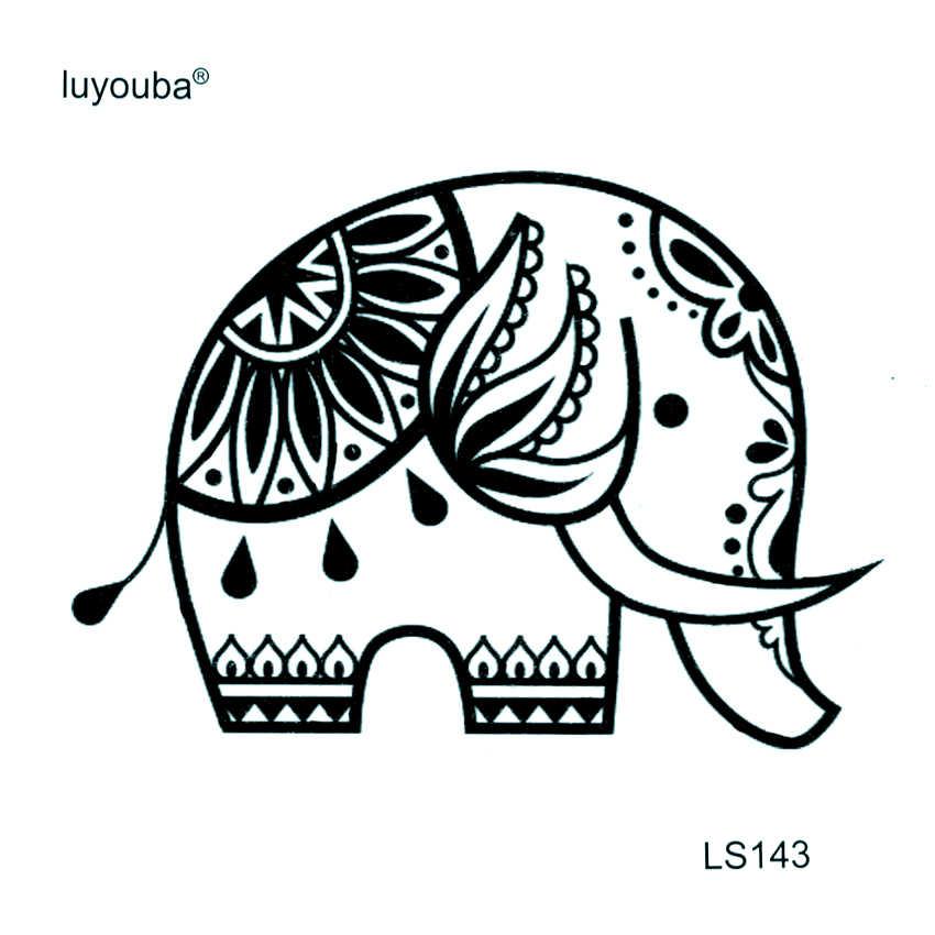ช้างน่ารักรอยสักชั่วคราวกันน้ำผู้ชายสัตว์ปลอม Tattoo Tatuajes Tatoos ชั่วคราวสติกเกอร์เด็ก Tattoo