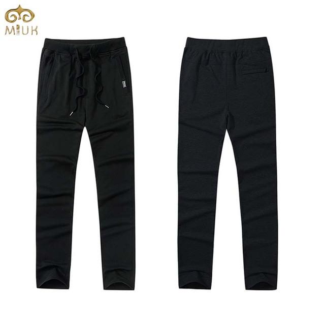 Miuk 2017 novo tamanho grande de algodão com cordão calças dos homens m ~ 4xl roupas de marca preto azul em linha reta calças pantalones hombre moletom
