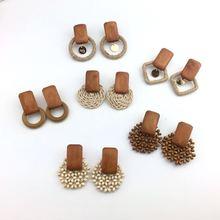 New Retro Handmade Wooden Earrings for Women Personality Simple  Woven Beaded Geometric Dangle Bohemian Vintage Jewelry