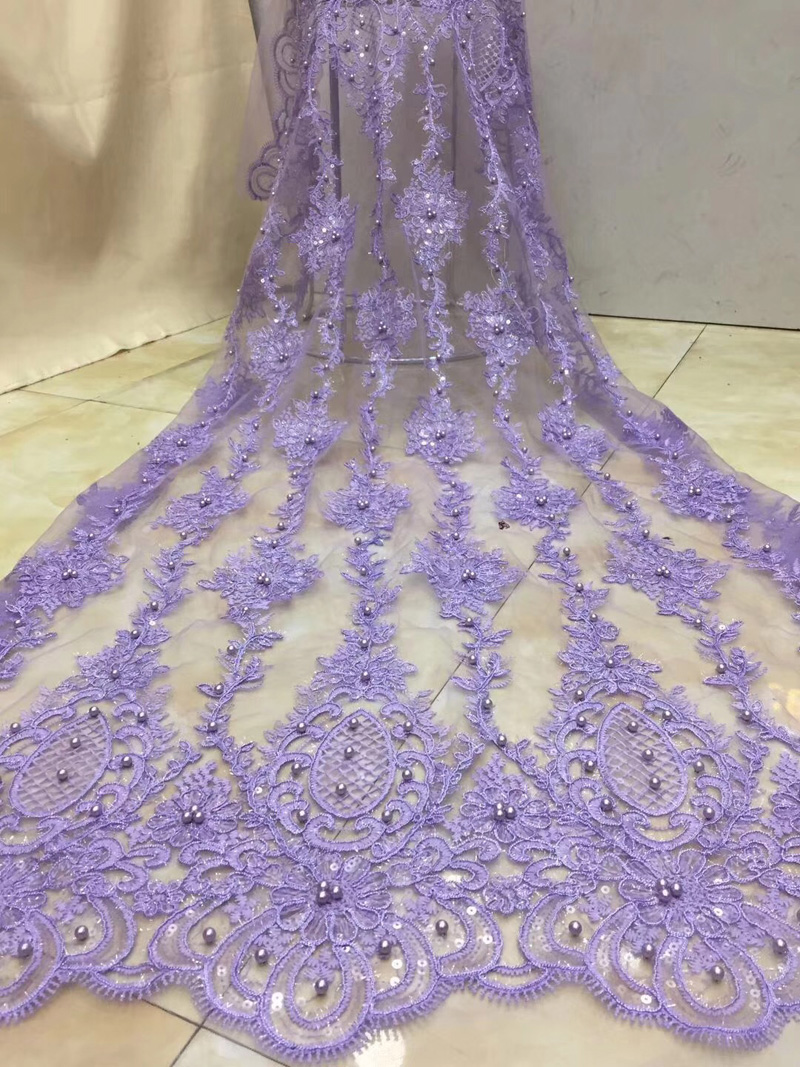 Free shipping 5yards pc embroidered lilac color African French net lace fabric with beads and sequins
