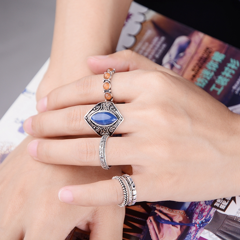 turkish vintage wedding ring set antique silver carved ethnic midi knuckle finger rings wholesale free 6pcs - Turkish Wedding Ring