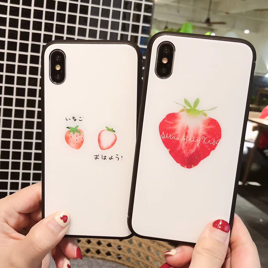 Fashion Cute Japanese Character Fruit Strawberry Case for iPhone 8 7 6 6S Plus X High quality white tempered glass Phone Cover