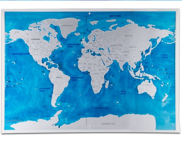 Deluxe Scratch Edition World Map Travel World Poster Map Oceans Diy