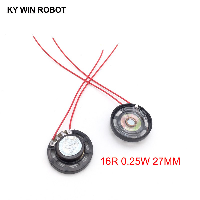 2pcs/lot New Ultra-thin Toy-car Horn 16 Ohms 0.25 Watt 0.25W 16R Speaker Diameter 27MM 2.7CM With Wire