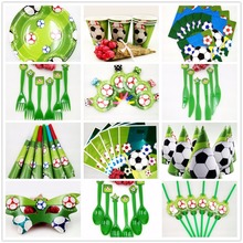 Birthday Decoration Football Kids Cup Plate Banner Hat Straw Loot Bag Fork  Party