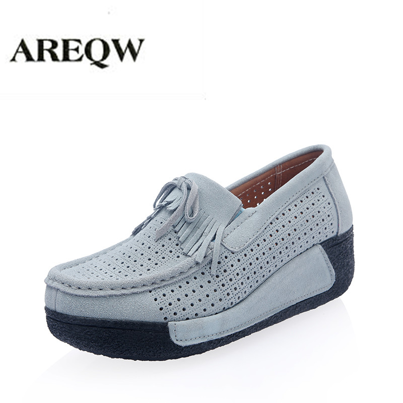 AREQW 2017 Summer new  Women Casual Shoes Women Genuine Leather Platform Flats Shoes Suede Leather Cut-out Wedge Flats Shoes 2016 new ggdb women shoes golden goose super star casual shoes genuine leather gold men women sport flats low cut shoe