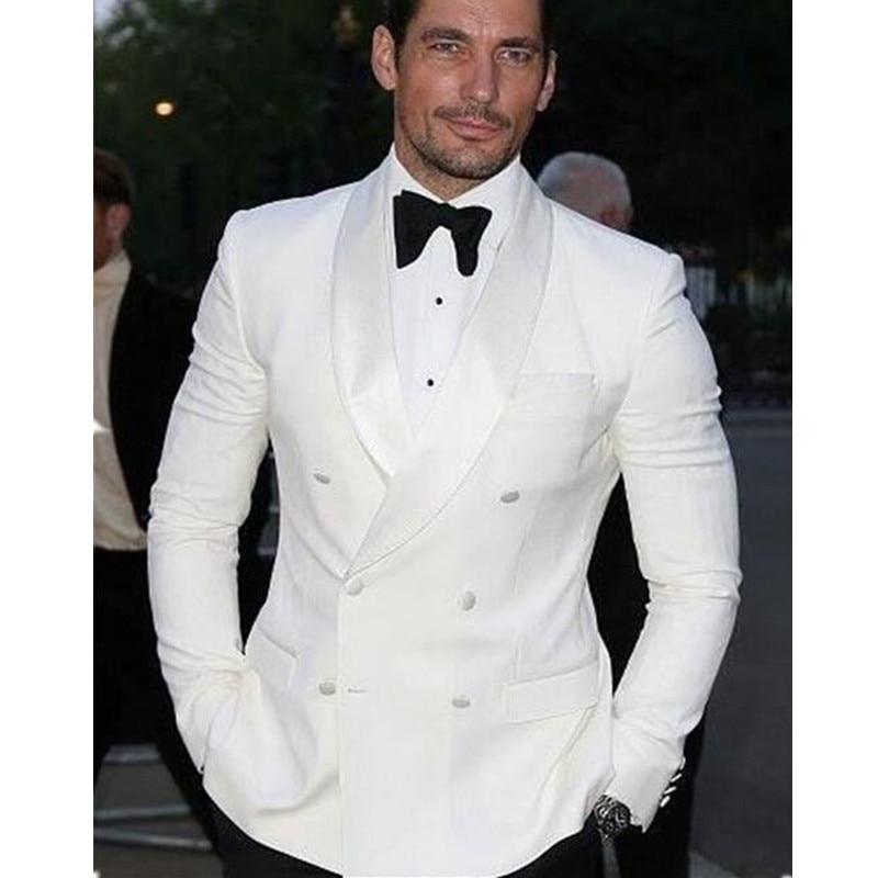 2017 Summer Style Custom Double Breasted Ivory White Man Suit Groom Tuxedo Bespoke Wedding Suits Black