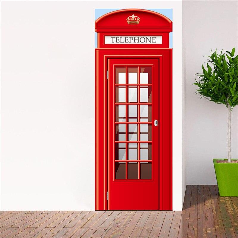 2Pcs DIY Mural 3D Door Sticker Waterproof PVC Sticker on the Door Bedroom Decoration Door Stickers Wallpaper
