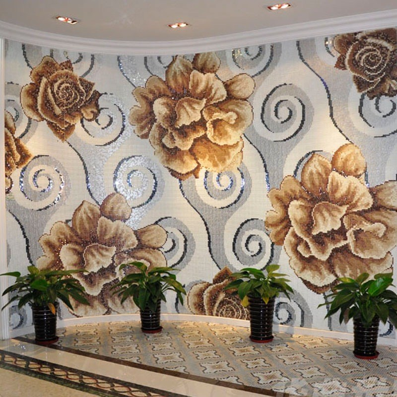 Buy Custom Pattern Wall Mosaic Brown Flower Mosaic Wall Tile Glass Mosaic Tile