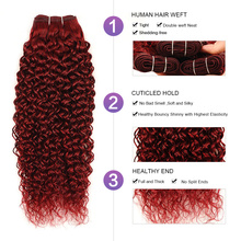 Mongolian Kinky Curly Hair 3 Human Hair Bundles With Closure Bold Red 99J Burgundy Bundles With Closure Nonremy
